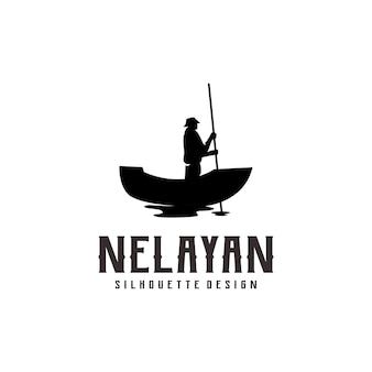 Fisherman silhouette logo illustration abstract