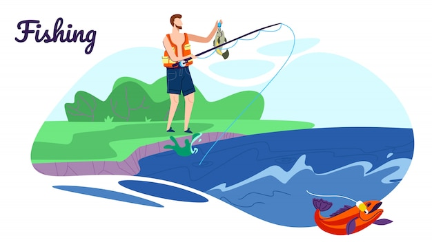 Fisherman stand with rod on coast have good catch illustration