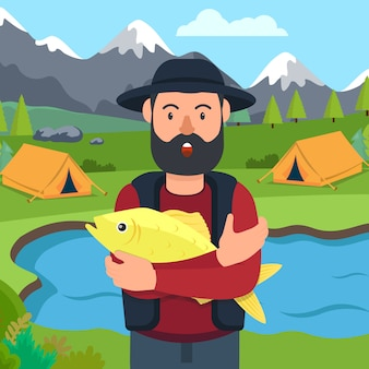 Fisherman with fish in hand on camping.