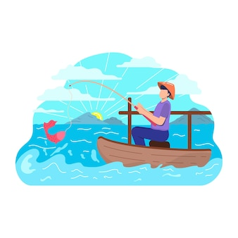 Fisherman with fishing rod boat forest