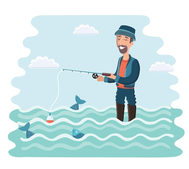 Fisherman with a fishing rod in his hands camping vacation relax cartoon vector illustration