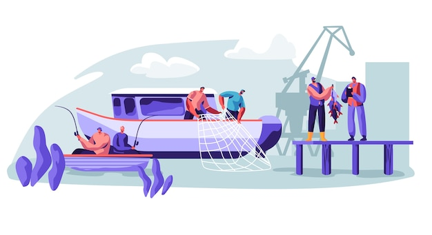 대형 보트 선박에 어업 산업에 종사하는 어 부. 컨셉 일러스트