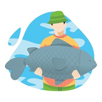 Fishermen carry a large fish catches