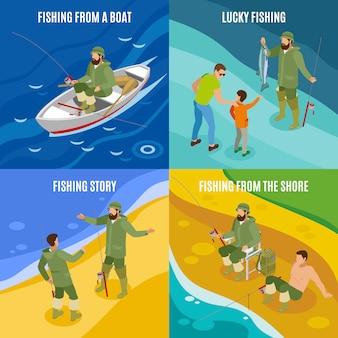 Fishermen during communion and with haul isometric concept catching from boat and at shore isolated