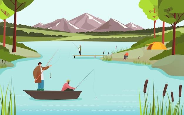 Fishermen on lake in beautiful nature landscape, people fishing hobby leisure, illustration