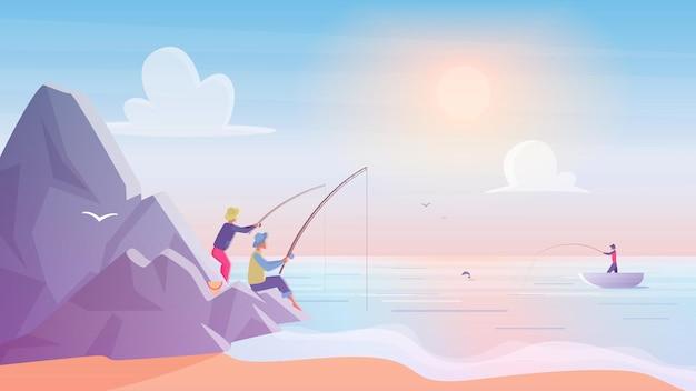Fishermen on rocks near sea or lake beach during golden hour sunset