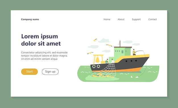 Fishermen sailing boat in sea and fishing with rod and net landing page