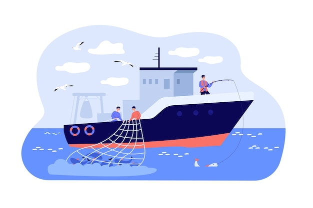 Fishermen sailing boat in sea and fishing with rod and net.