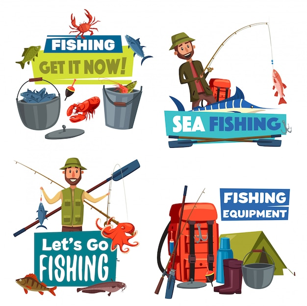 Fishermen with fishing rod, fish catch and tackle