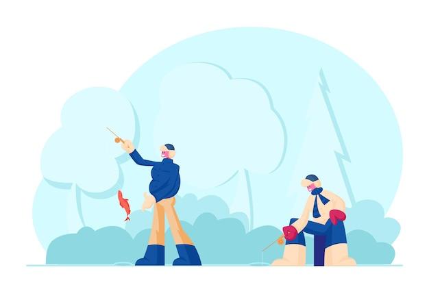 Fishermen with rods fishing on coast having good catch. cartoon flat illustration