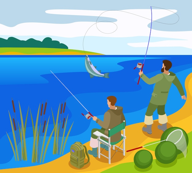 Fishermen with tackles during catching fish on bank river isometric composition