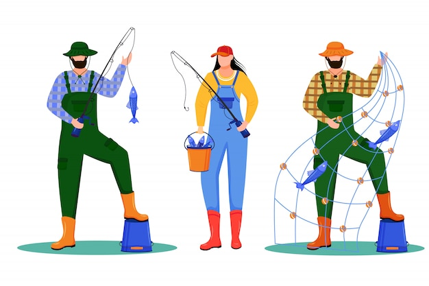 Иллюстрация рыболовов. спорт, активный отдых. рыболовный флот. морское занятие. рыбаки и рыбацкие герои мультфильмов на белом фоне