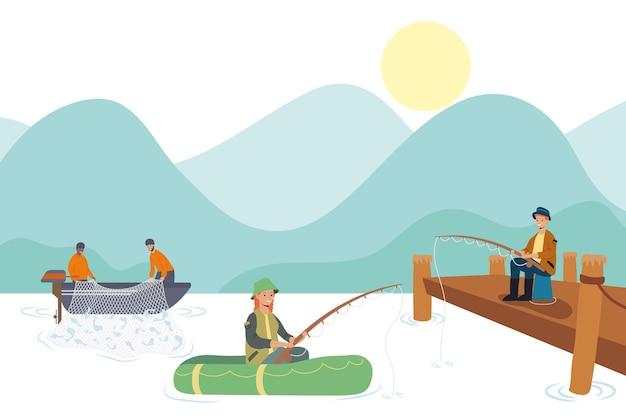 Fishers in lake