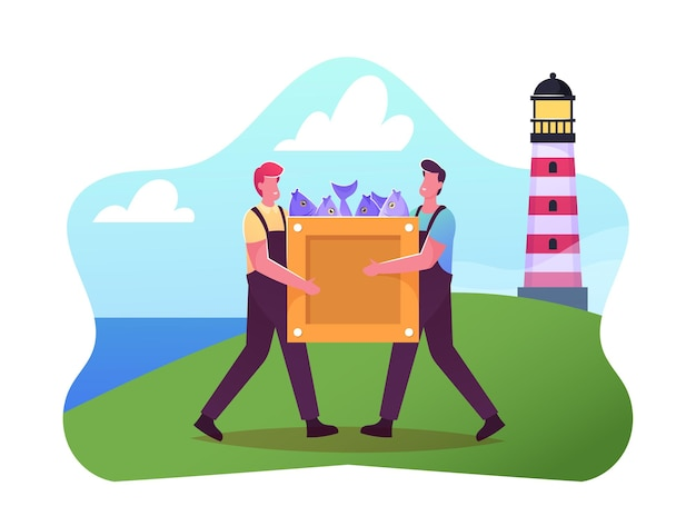 Fishery industry illustration. fishermen male characters in working overalls carry wooden box with raw fish