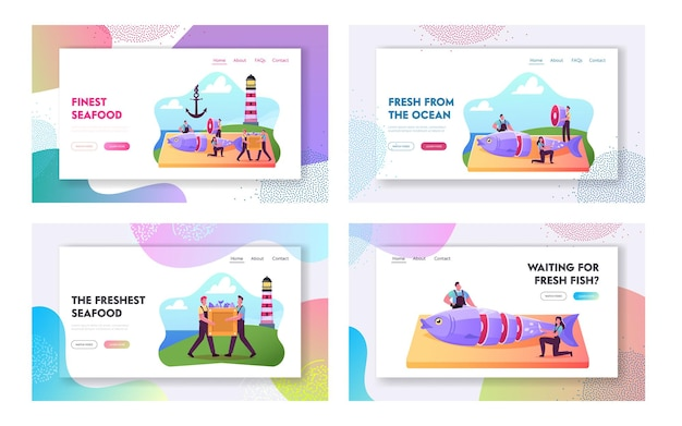 Набор шаблонов целевой страницы рыбной промышленности. крошечные персонажи-рыболовы, режущие свежую рыбу на берегу с маяком и якорем, розничная торговля и распространение морепродуктов. мультфильм люди векторные иллюстрации
