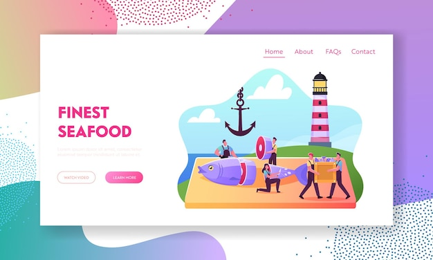 Fishery industry landing page template. tiny fisher characters cutting fresh fish on coastline with lighthouse and anchor, seafood retail and distribution in stores. cartoon people vector illustration