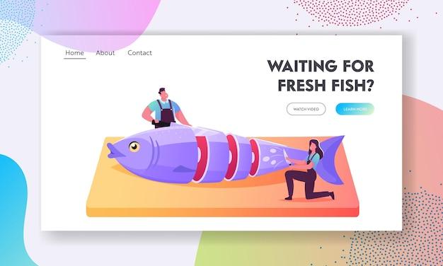 Рыбная промышленность, розничная торговля морепродуктами, концепция распространения для шаблона целевой страницы. крошечные мужские и женские персонажи-рыбаки, режущие свежую сырую рыбу на деревянной доске. мультфильм люди векторные иллюстрации