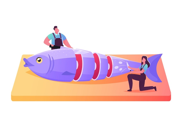 Fishery industry, seafood retail, distribution illustration