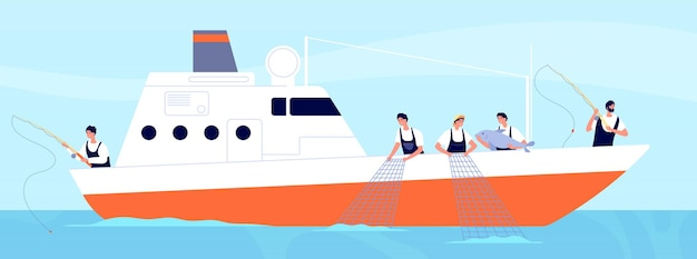 Fishery season. fishermen on boat, commercial fishery ship in ocean. industrial vessel and working fisherman with catch vector illustration. fishing hobby, sport and active leisure
