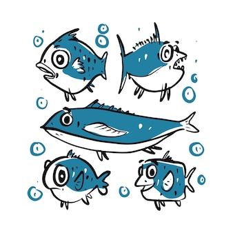 Fishes cartoon set illustration.