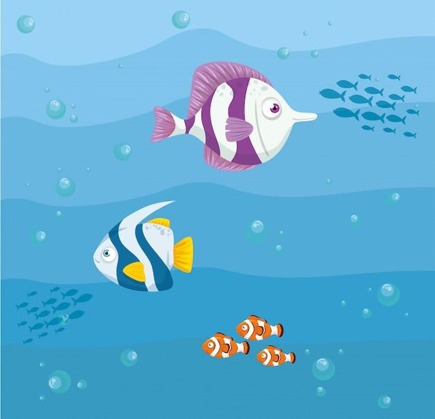 해양 생물, 바다 세계 거주자, 귀여운 수중 생물, 해저
