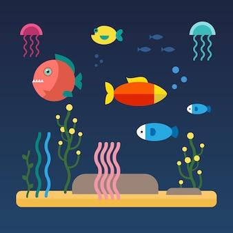 바다 밑바닥에서 수영하는 물고기
