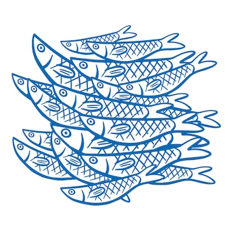 Fishes on white background