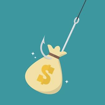 Fishhook with money bag