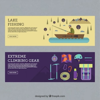 Fishing and adventure accessories banners