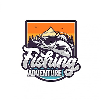 Fishing adventure design logo