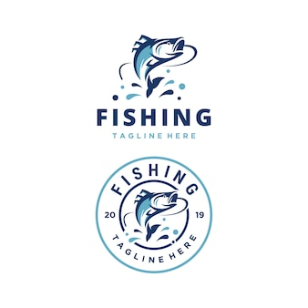 Fishing adventure vector logo design template