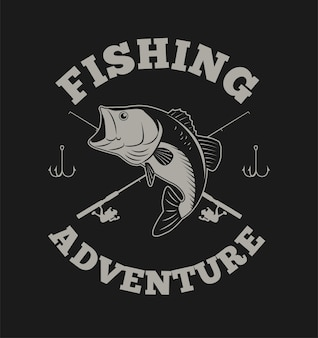 Fishing adventure with bass fish and fishing rod