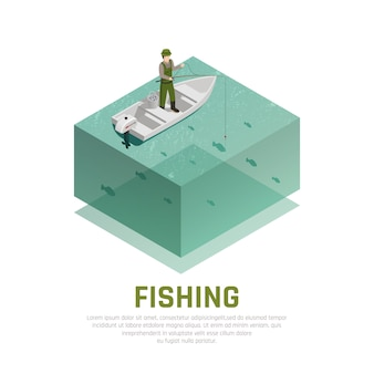 Fishing alone isometric