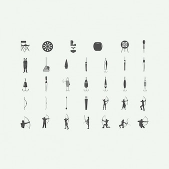 Fishing and archery icons