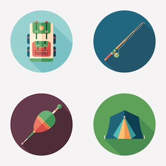 Fishing and camping flat round icon set.