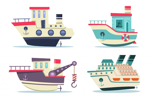 Рыбацкие и круизные катера установлены. мультфильм плоские корабли, вид сбоку на белом фоне.