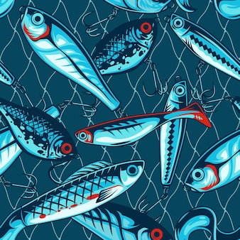 Fishing artificial baits vintage seamless pattern with wobblers and plastic lures