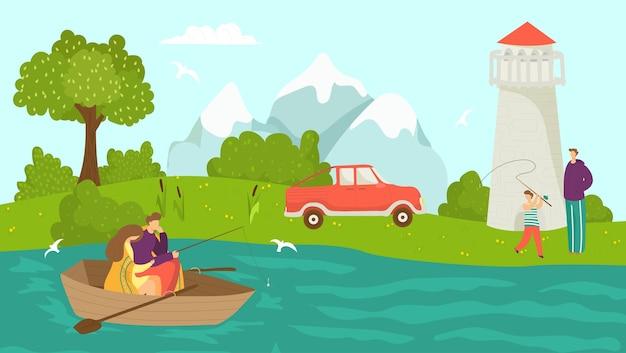 人々のキャラクターのレジャーで自然湖での釣り