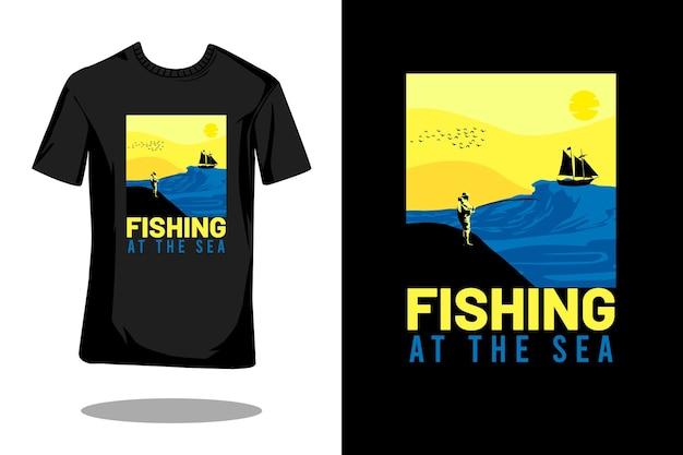 海での釣りシルエットヴィンテージtシャツのデザイン