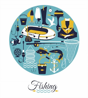 Fishing background  in circle.