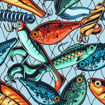 Fishing baits and lures seamless pattern with different artificial accessories in vintage style on fisherman net