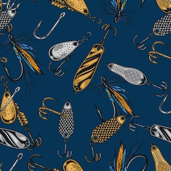 Fishing baits vintage seamless pattern with colorful hooks fly and spoon fishing lures