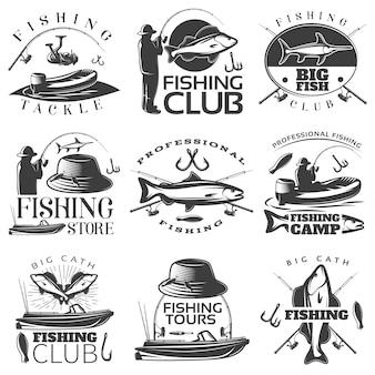 Emblema di pesca nero impostato con descrizioni negozio di pesca attrezzatura da pesca club di pesca