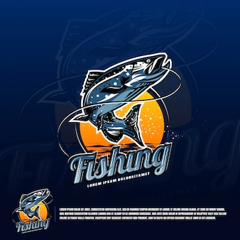 Fishing blue logo vector