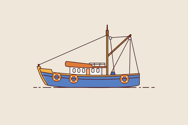 Fishing boat icon. fishing trawler isolated on brown background. vector design in flat style.