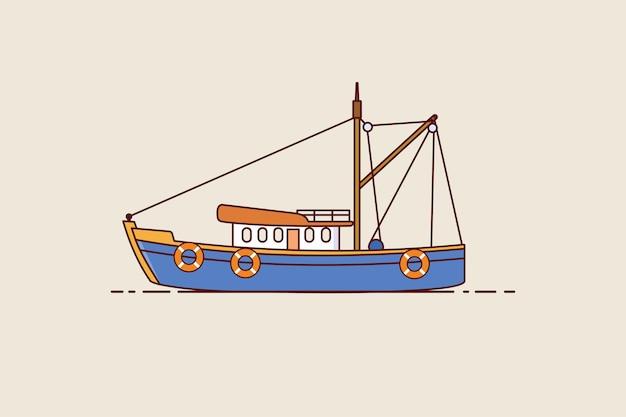 漁船のアイコン。茶色の背景に分離されたトロール漁船。フラットスタイルのベクトルデザイン。