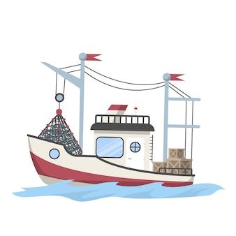 낚시 보트 또는 물고기가 가득한 배. 해산물 생산을 위해 바다 또는 바다에서 물고기를 잡습니다. 삽화
