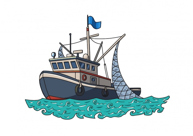 Fishing boat in the sea. vector illustration isolated on white