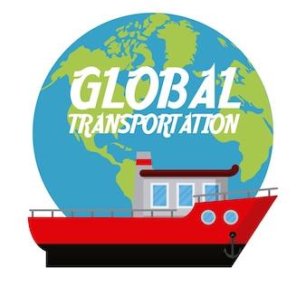 Fishing boat over world concept vector illustration graphic design