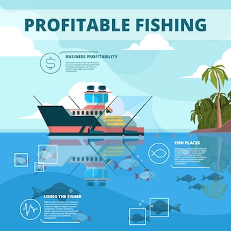Fishing boats background. ocean water fisher ship  infographic picture.